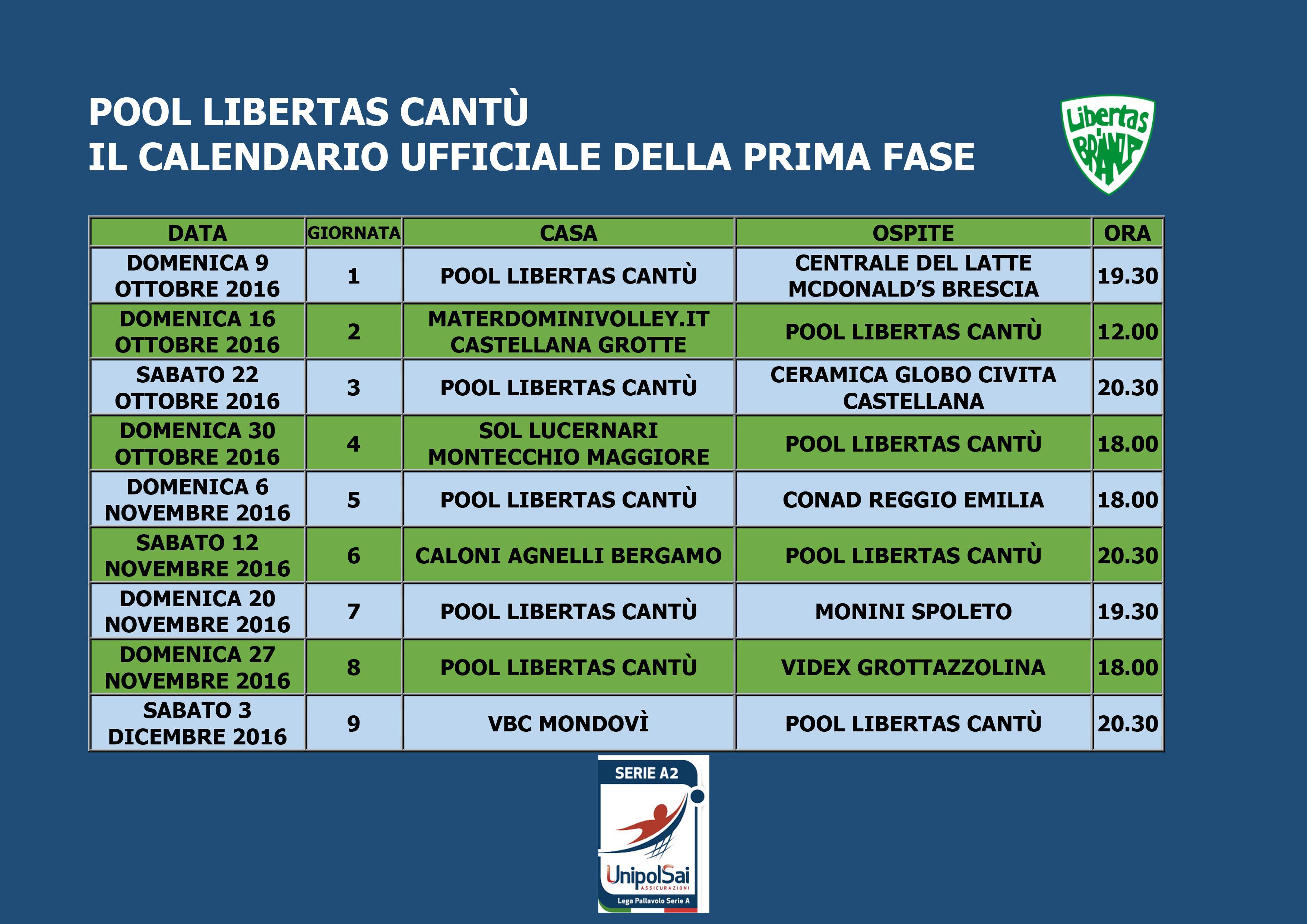 Calendario Serie A 16 Ottobre.Pallavolo Libertas Cantu Sito Ufficiale Ecco Il